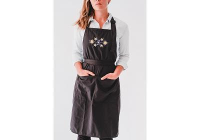 Apron with ethnic embroidery, Unisex, Unisize, Two front pockets, Extra-long waist-ties, Adjustable strap; Become your own Chef At-Home,