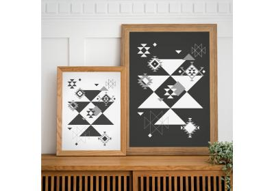 Set of two Ethnic downloadable prints, Geometric print, Tribal art, Ethnic wall art, Printable art (Black and White)