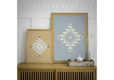 Set of two Ethnic downloadable prints, Geometric print, Tribal art, Ethnic wall art, Printable art (Desert Beige and Ice Blue)