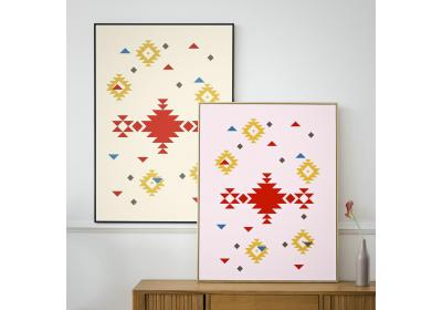 Set of two Ethnic downloadable prints, Geometric print, Tribal art, Ethnic wall art, Printable art (Lemonade Yellow and Peony Pink)