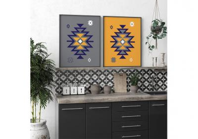 Set of two Ethnic downloadable prints, Geometric print, Tribal art, Ethnic wall art, Printable art (Butterscotch Yellow and Grey)