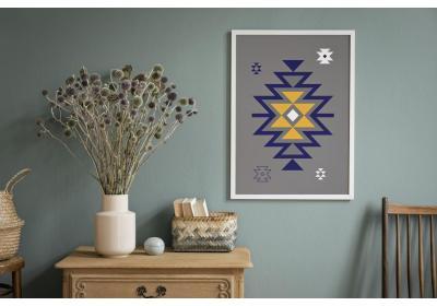 Ethnic downloadable print, Geometric print, Tribal art, Ethnic wall art, Printable art, Color Gray