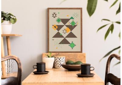 Ethnic downloadable print, Geometric print, Tribal art, Ethnic wall art, Printable art, Color Chocolate Brown