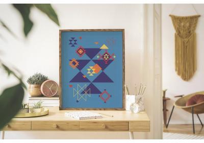 Ethnic downloadable print, Geometric print, Tribal art, Ethnic wall art, Printable art, Color Sapphire Blue