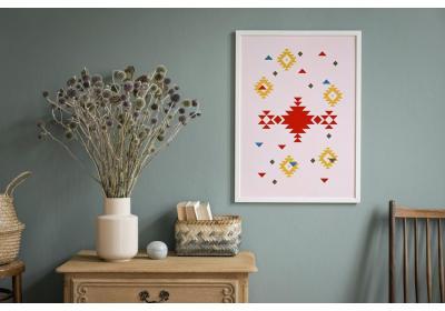 Ethnic downloadable print, Geometric print, Tribal art, Ethnic wall art, Printable art, Color Peony Pink
