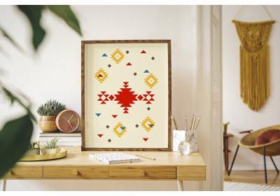 Ethnic downloadable print, Geometric print, Tribal art, Ethnic wall art, Printable art, Color Lemonade Yellow
