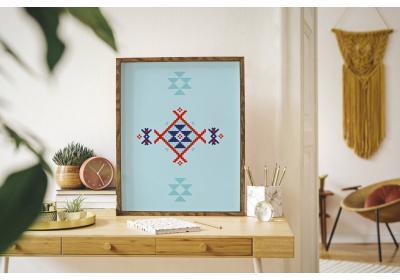 Ethnic downloadable print, Geometric print, Tribal art, Ethnic wall art, Printable art, Color Watery Sea Blue